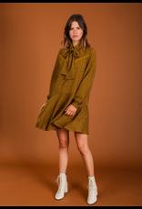 CHECK DRESS MUSTARD/RUSTY