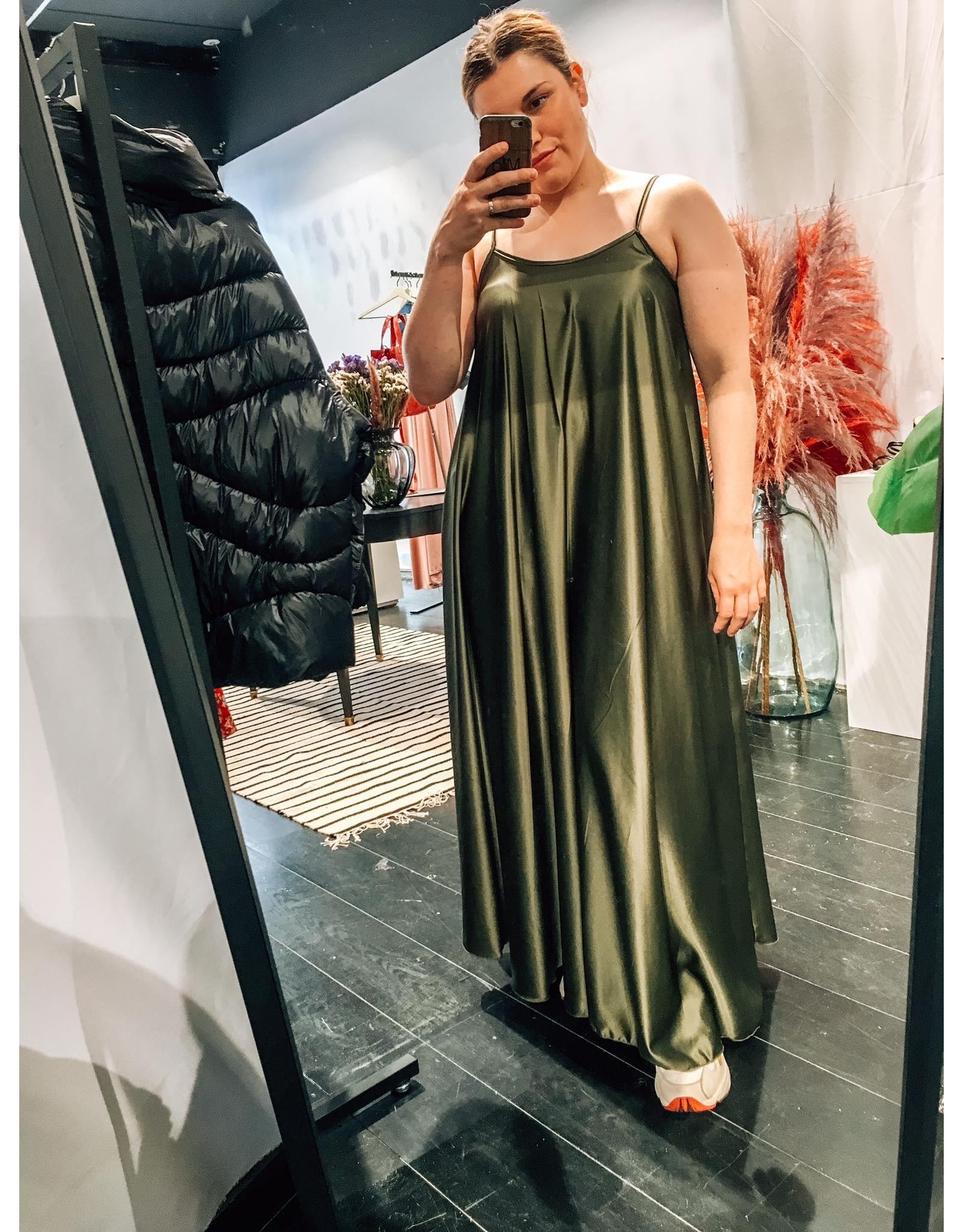 SATIN LOOK STRAP DRESS KHAKI