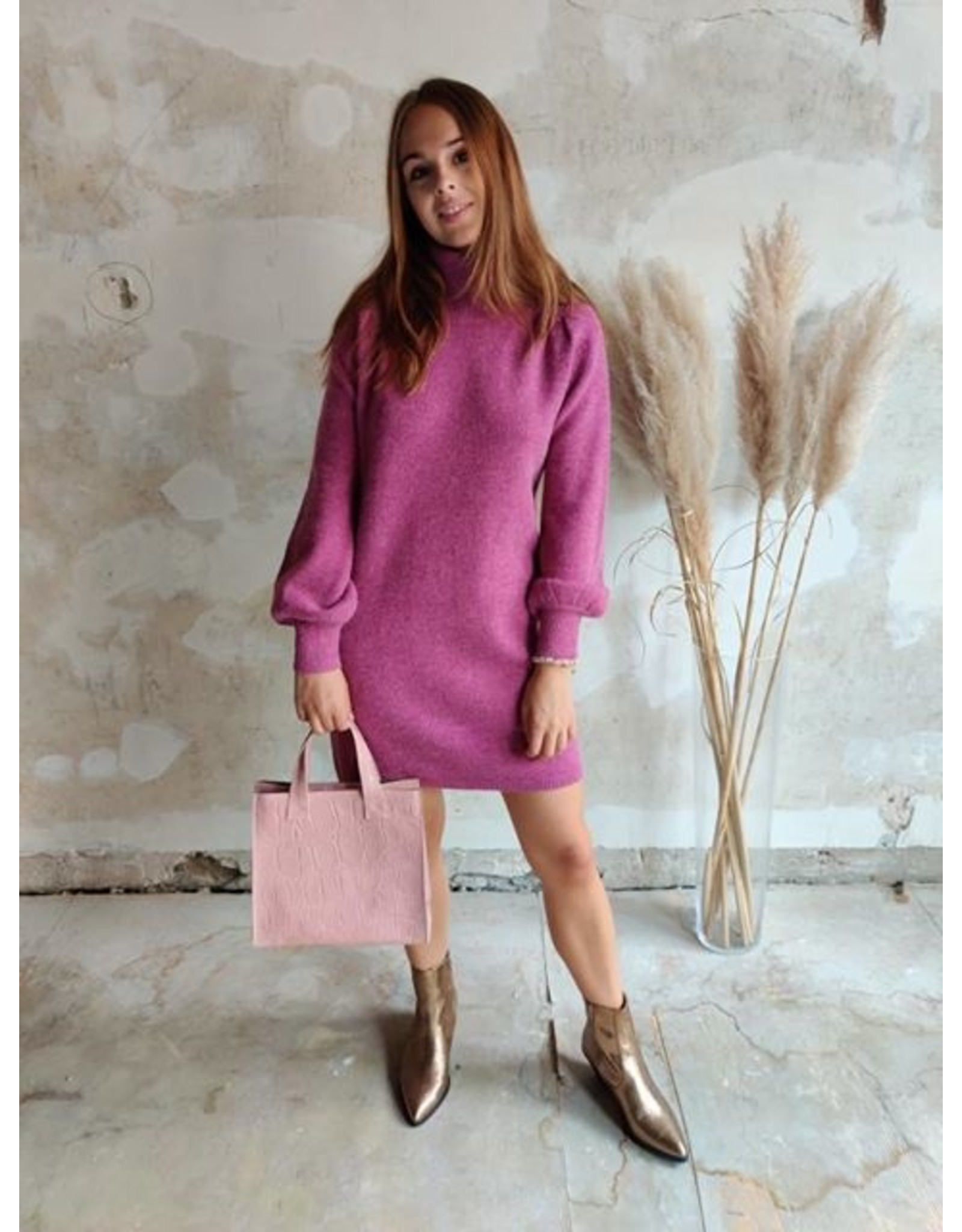 PHEBE KNITTED DRESS FRAMBOISE