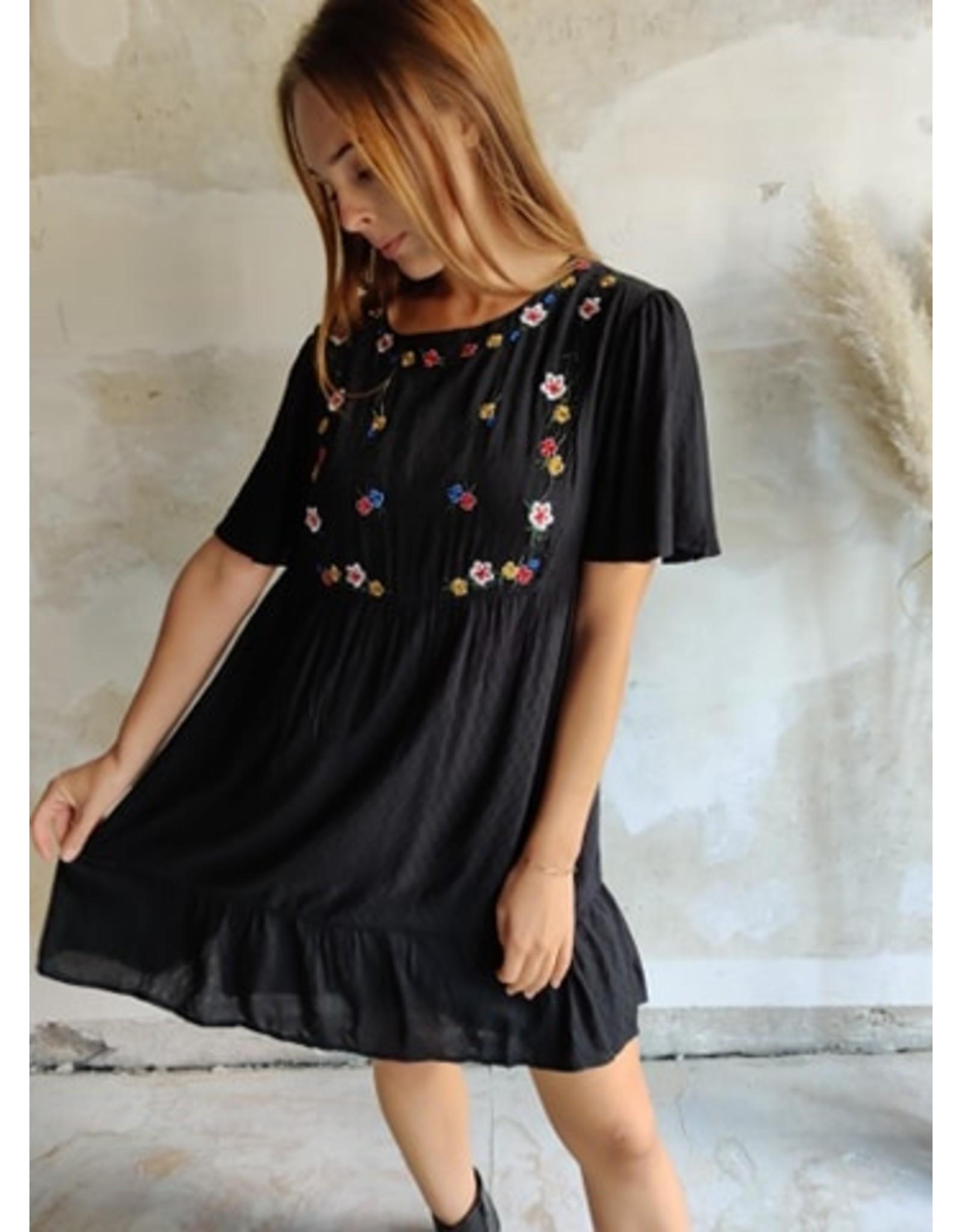 LITTLE DRESS WITH FLORAL DETAILS BLACK