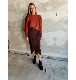 WRAP SKIRT BLACK/BROWN