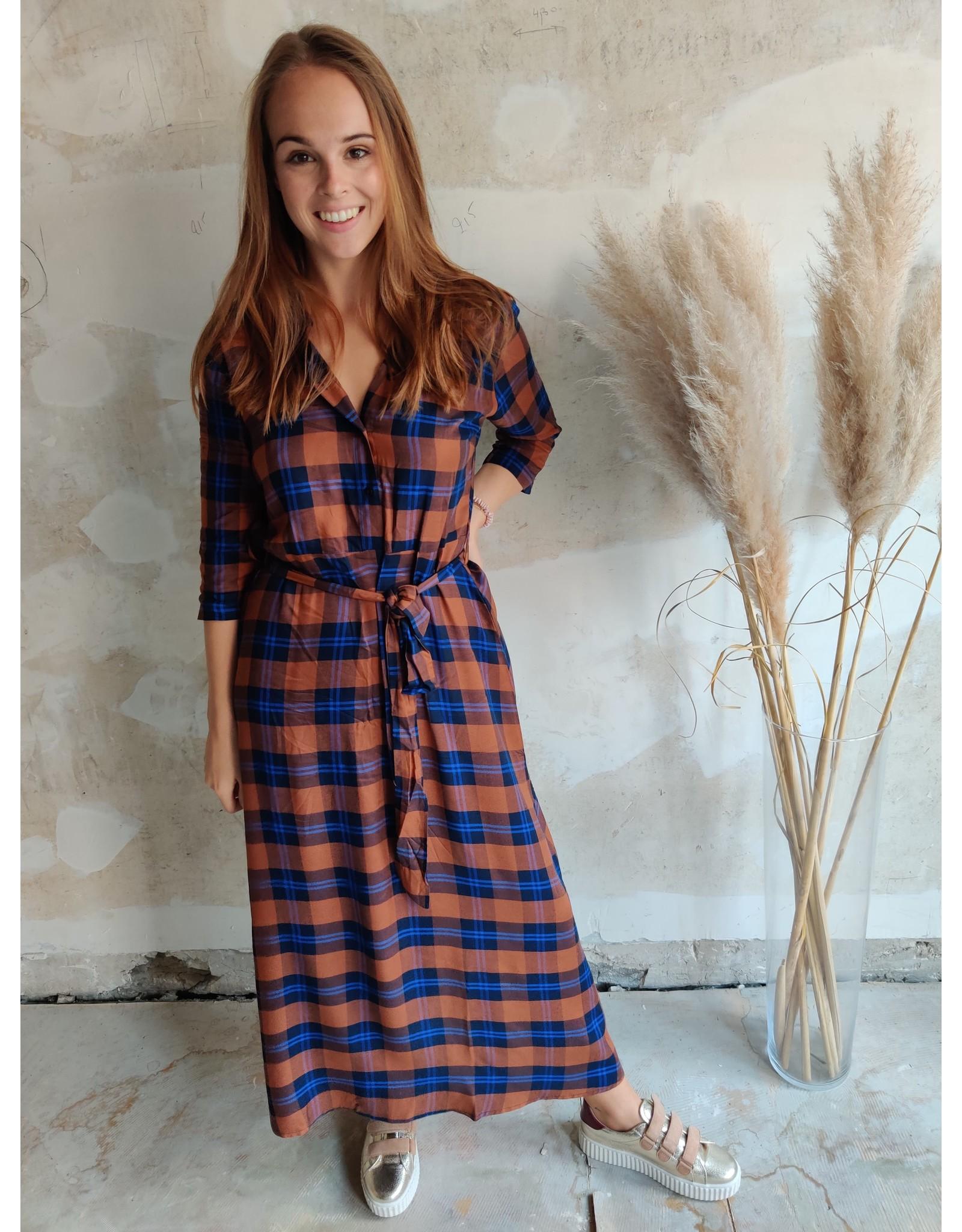 ANNA DRESS BROWN/BLUE