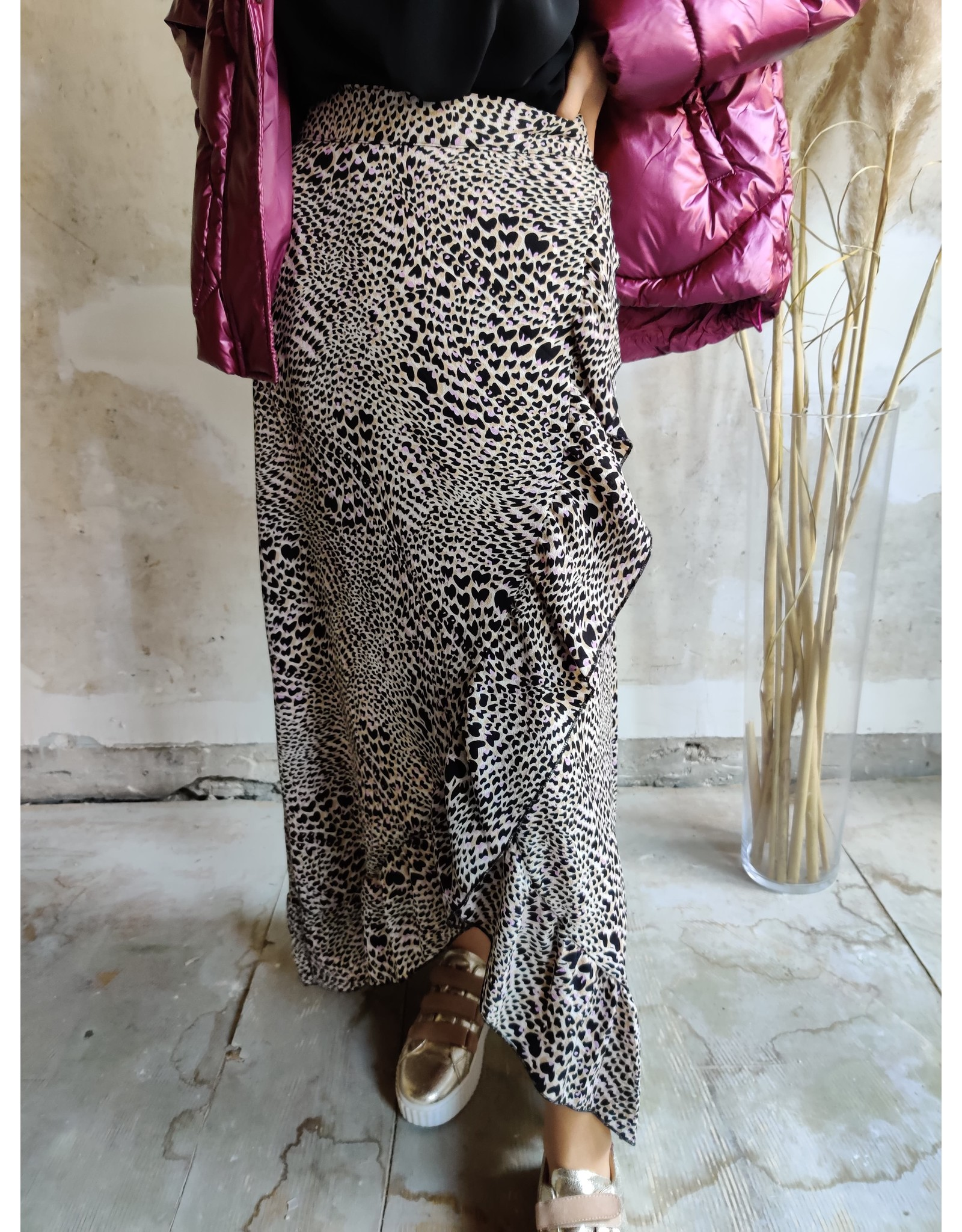 LEOPARD WRAP DRESS BROWN/LILA