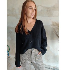SOFIA BUTTON PULLOVER BLACK