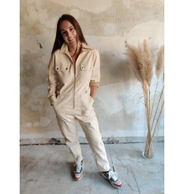 MILLA FAUX LEATHER JUMPSUIT BEIGE