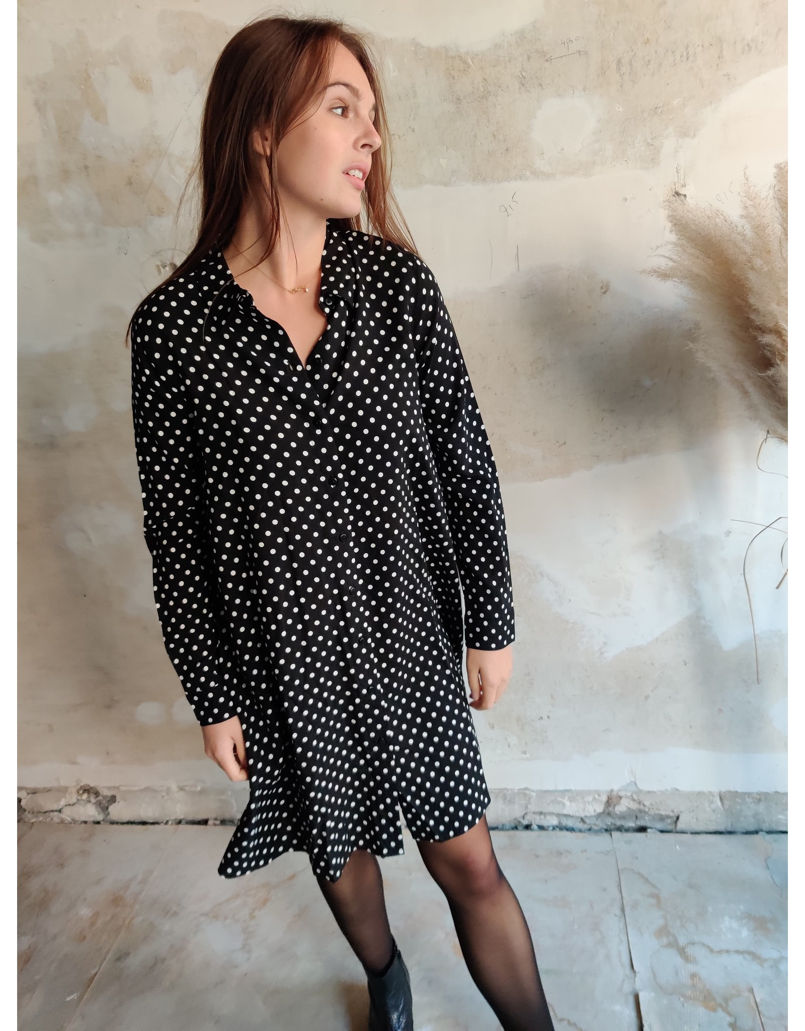 ENZO POLKA DRESS BLACK