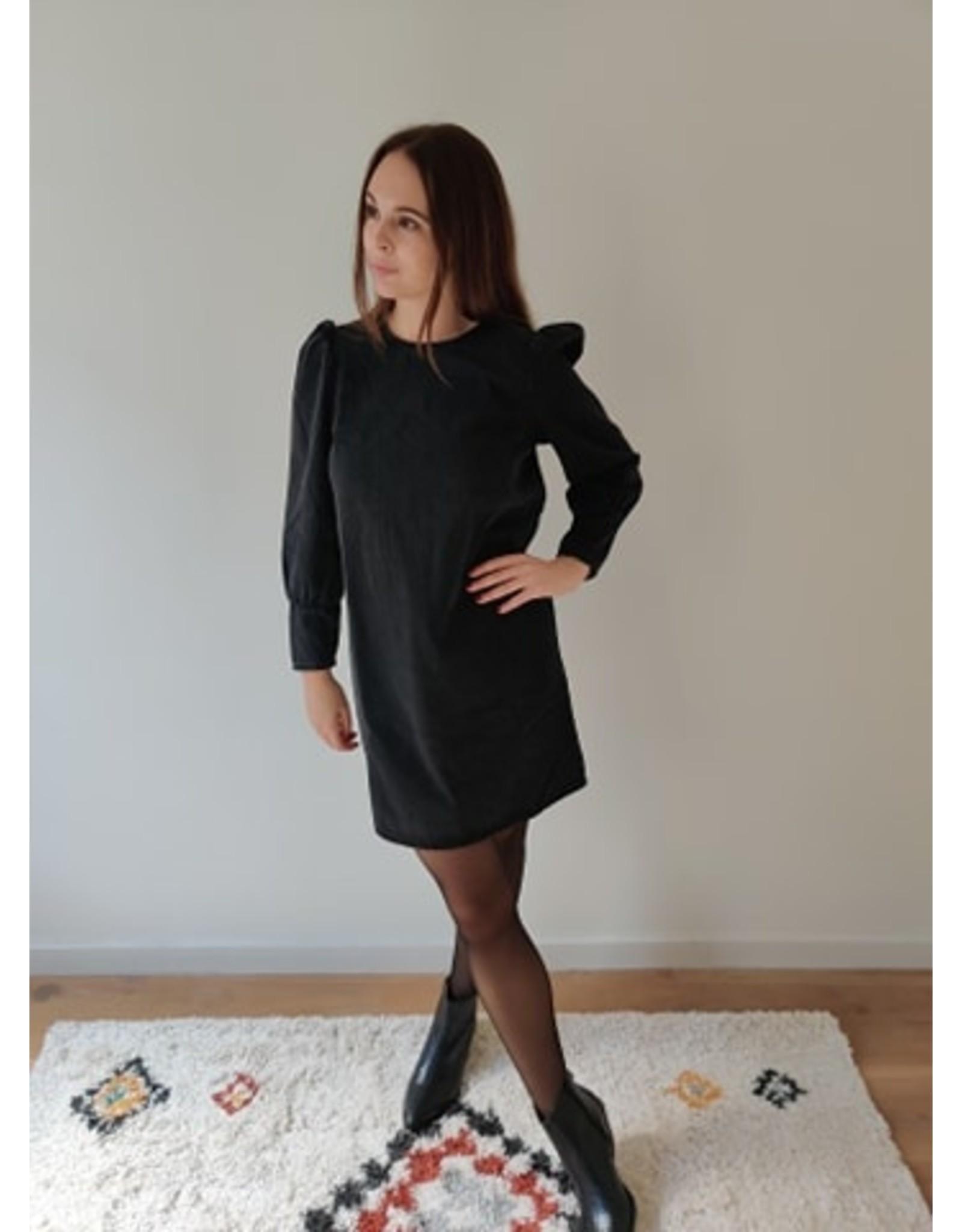 ELIZE DENIM DRESS BLACK