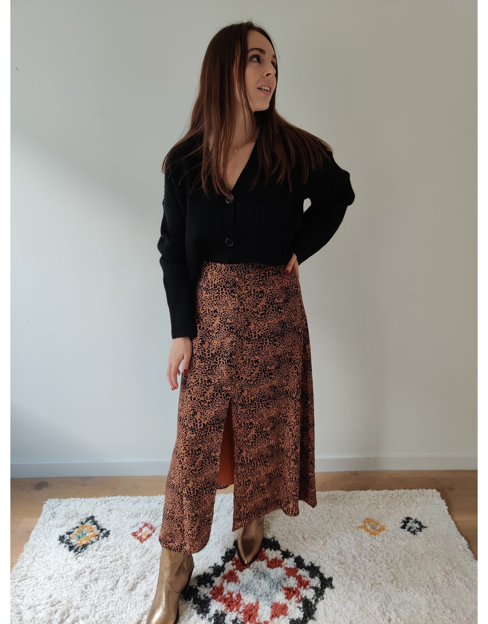 JANE LEOPARD SKIRT BROWN