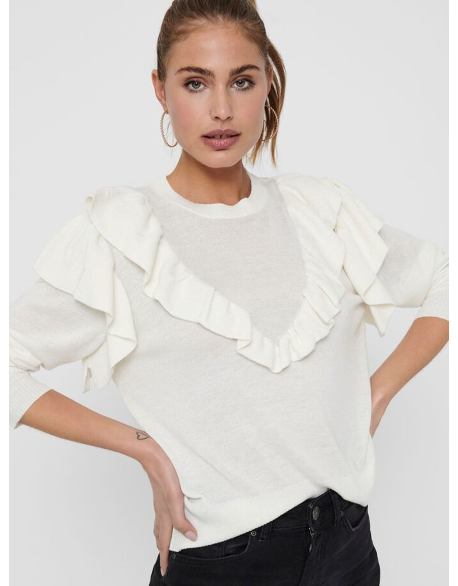 RUFFLE PULLOVER WHITE