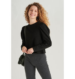 CROPPED PUFF SWEATER BLACK