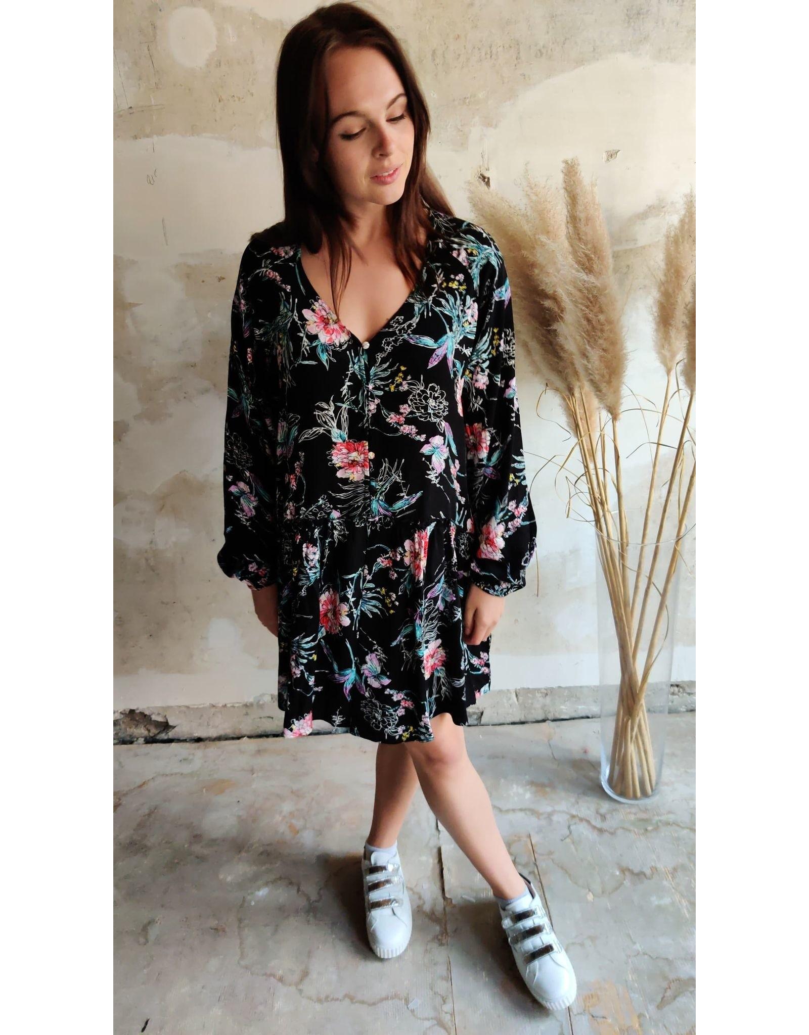 ROSS FLORAL DRESS BLACK
