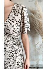 WRAP DRESS BEIGE/BLACK