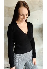 CHARLIE BUTTON CARDIGAN BLACK