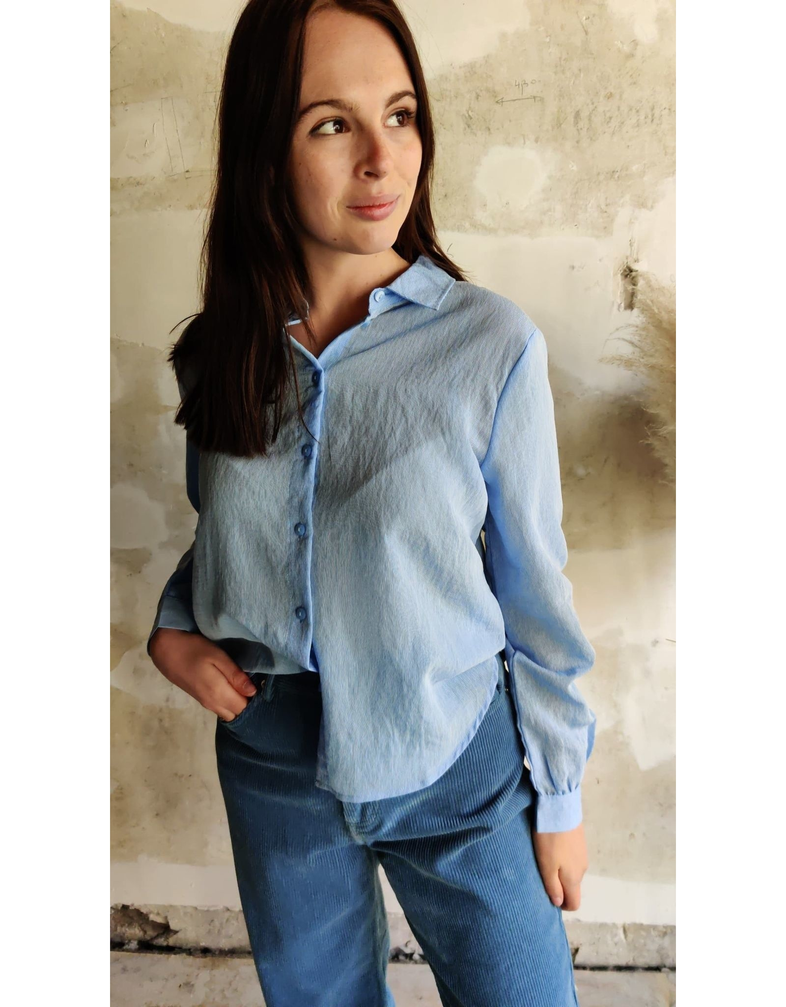 MARY BLOUSE BLUE/WHITE
