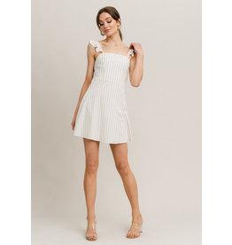 STRIPED DRESS BEIGE