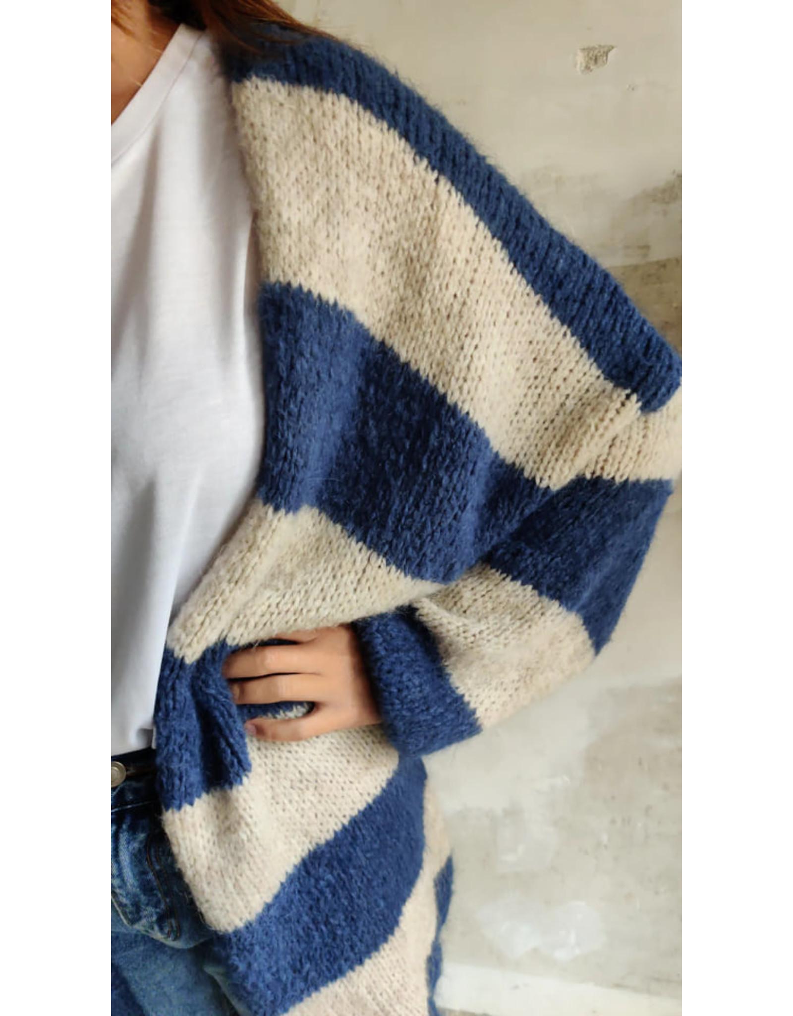 STRIPED CARDIGAN BLUE/WHITE