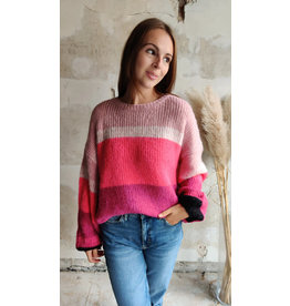 STRIPED PULLOVER ROSE