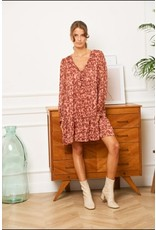 SOPHIA FLOWER DRESS ROSE/RUST