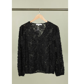 FLUFFY BLOUSE WITH BUTTONS BLACK