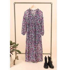 LONG FLORAL DRESS  PURPLE