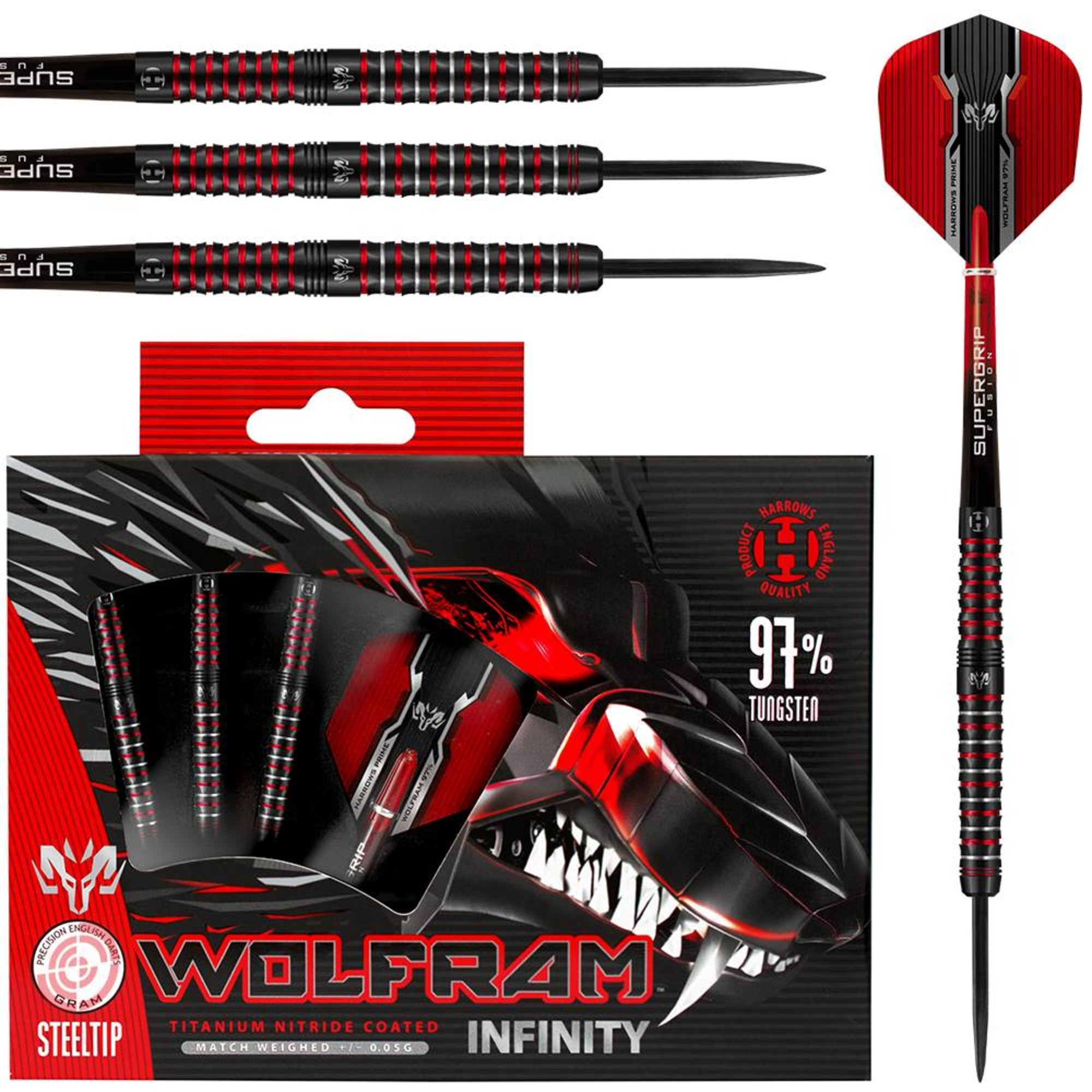 Harrows Darts Wolfram Infinity 97/% Tungsten Steeldarts