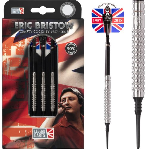 Legend Darts Eric Bristow Crafty Cockney 90% Silver Knurled Softdarts