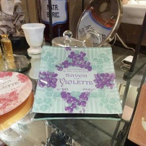 Soap Dish Decoupage Savon Violette Bleu