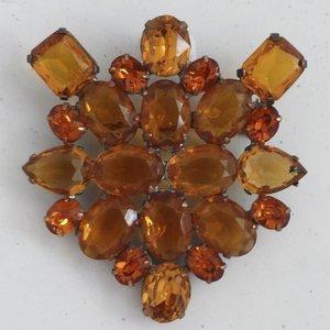 Strass Brooch Cluster Amber