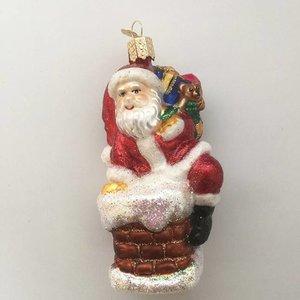 Kerstbal Santa in de Schoorsteen