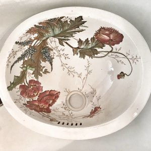 Antique washbasin Coquelicot round