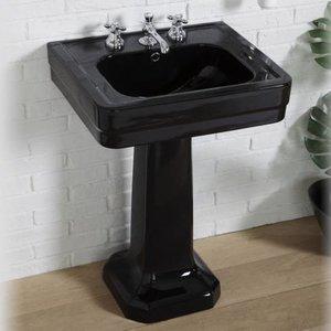Wastafel op zuil Art Deco black