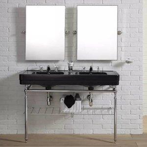 Dubbele wastafe Black op frame