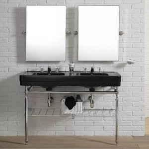 Dubbele wastafel Black op frame
