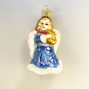 Christmas Decoration Angel with a Lyre Blue