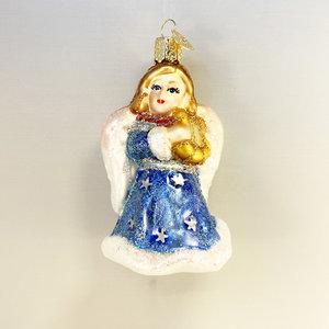 Kerstbal Engel met Lier Blauw
