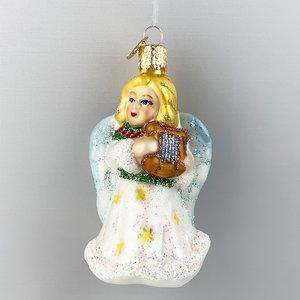 Kerstbal Engel met Lier Wit