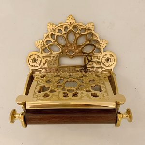 Ornate toilet paper holder brass