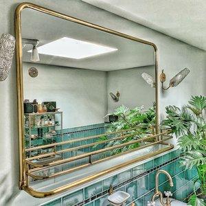 Large Bathroom Mirror Brass With Shelf Affaire D Eau
