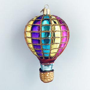Kerstbal Luchtballon Regenboog