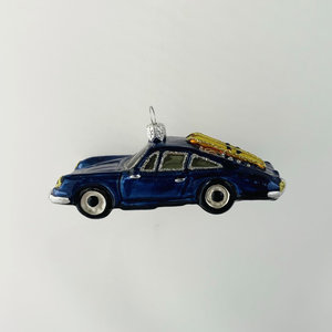 Christmas Decoration Blue Car with Skis