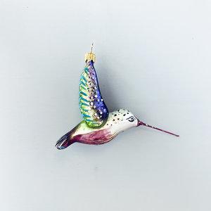 Kerstbal Kolibrie Paars Vleugels Hoog