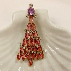 Kerstboombroche Pink met slingers