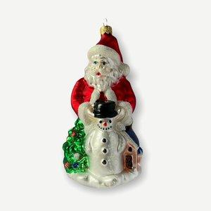 Kerstbal Santa met Sneeuwman