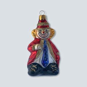 Kerstbal Clowntje met Blauwe Das