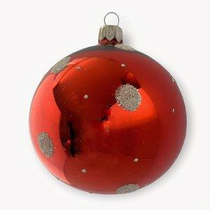 Kerstbal Rood met Witte Stippen