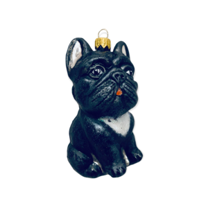 Kerstbal Franse Bulldog Zwart