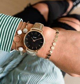 Cluse Minuit leather Gold Black/Gold Metallic