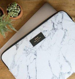 Laptop sleeve white marble