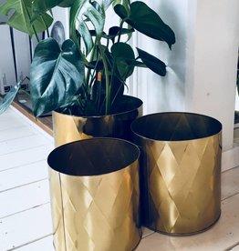 Madam Stoltz Bloempot iron harlequin pattern - Gold X-Large