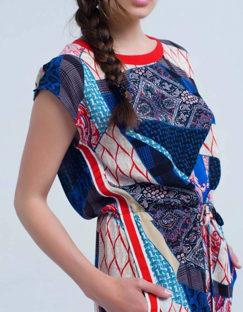 Q2 Fashion - red dress patchwork